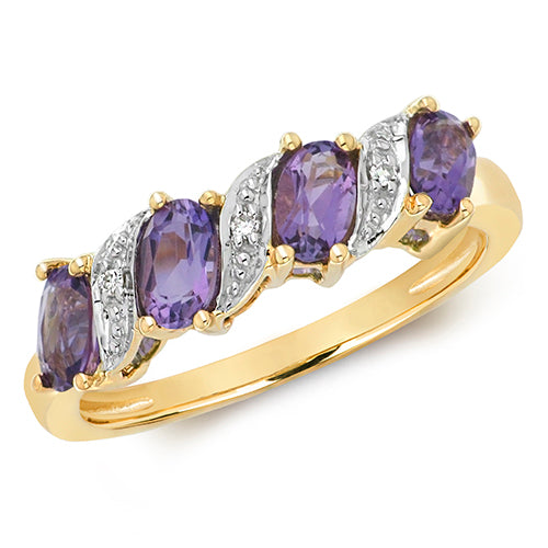 9ct Yellow Gold 4 Oval Amethyst & Diamond Dress Ring
