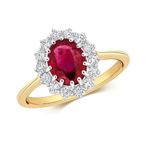 9CT RUBY & DIAMOND CLUSTER RING