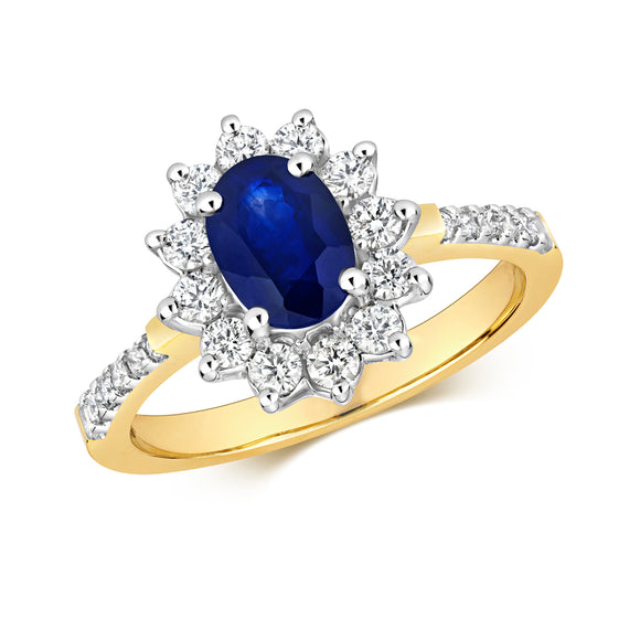 9CT YELLOW GOLD  SAPPHIRE & DIAMOND CLUSTER RING