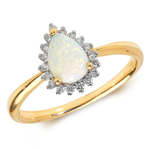 9ct Yellow Gold Opal & Diamond Pear Shape Dress Ring