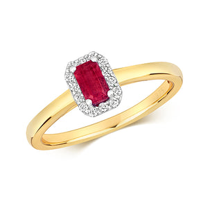 9ct Yellow Gold Octagon Ruby & Diamond Cluster Dress Ring