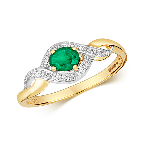 9ct Yellow Gold Oval Emerald & Diamond Dress Ring