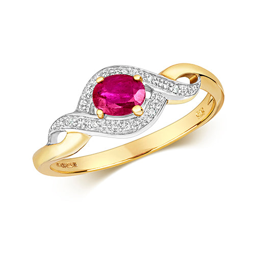 9ct Yellow Gold Diamond & Oval Ruby Dress Ring