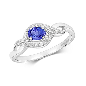 9ct White Gold Oval Tanzanite & Diamond Dress Ring
