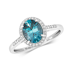 9ct White Gold Blue Topaz & Diamond Dress Ring