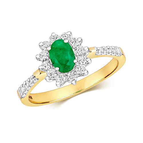 9ct Yellow Gold Emerald & Diamond Cluster Dress Ring