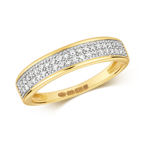 Yellow gold 2 row  diamond band ring