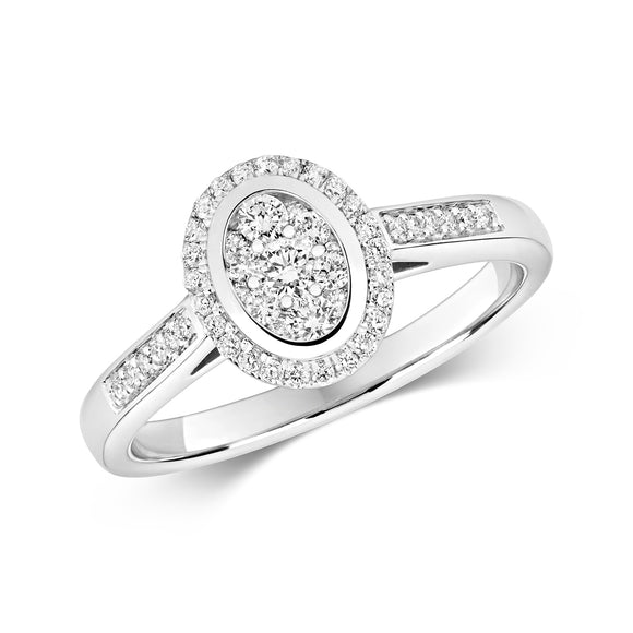 9CT WHITE GOLD DIAMOND CLUSTER RING OVAL