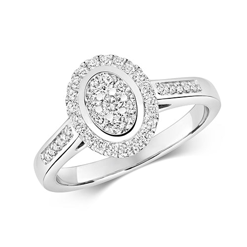 9ct WHITE GOLD OVAL SHAPE  DIAMOND OVAL CLUSTER RING