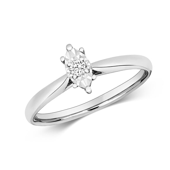 9CT WHITE GOLD MARQUISE SHAPED DIAMOND RING