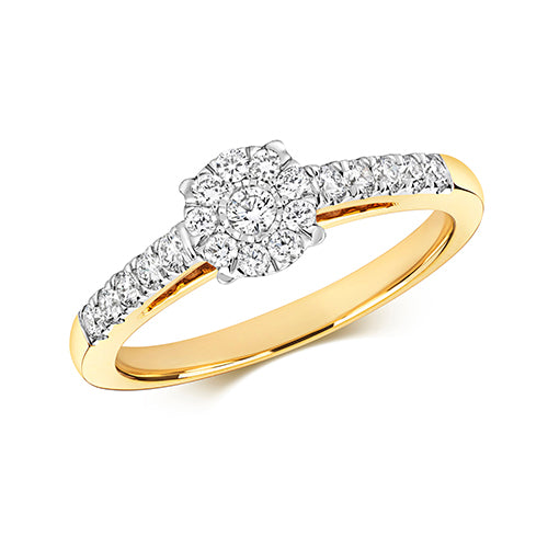 9CT YELLOW GOLD ILLUSION SET SOLITAIRE RING