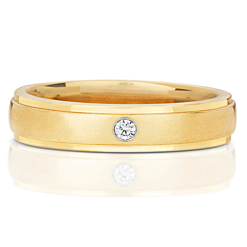 9CT YELLOW GOLD DIAMOND SET WEDDING BAND
