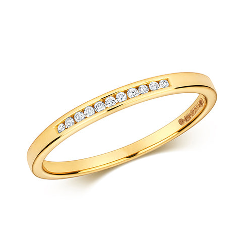 9CT YELLOW GOLD CHANNEL SET DIAMOND RING