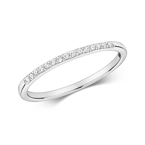 9CT WHITE GOLD GRAIN SET DIAMOND RING
