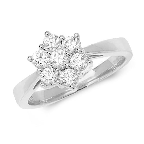 18ct White Gold Diamond Cluster 7 Stone Ring