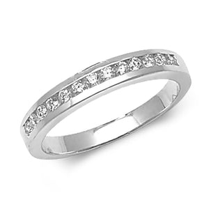 18ct White Gold Half Eternity Channel Set Ring