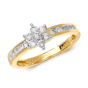 18ct Yellow Gold 7 Stone Diamond Cluster Ring