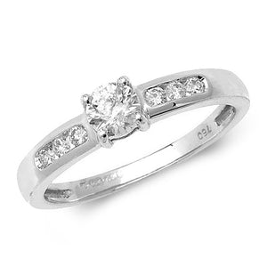 18ct White Gold Diamond Solitaire with Diamond Set Shoulders