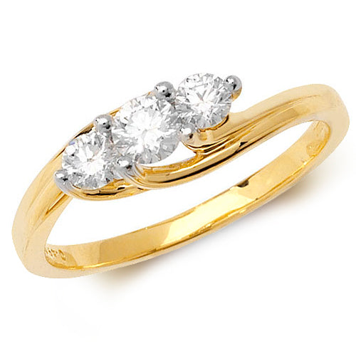 18CT YELLOW GOLD 3 STONE DIAMOND CROSSOVER  RING