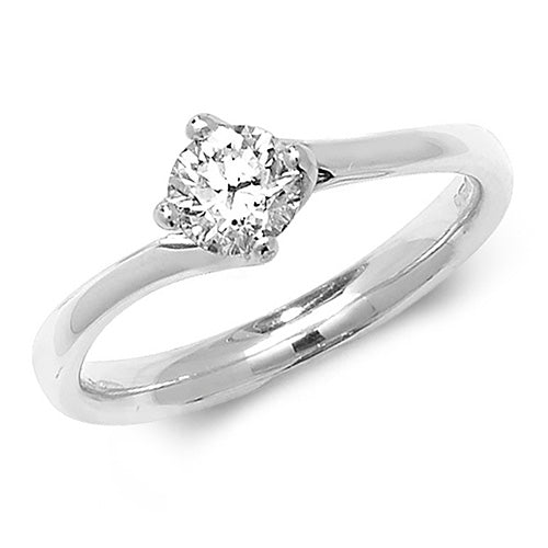 18CT WHITE GOLD DIAMOND TWIST SOLITAIRE RING