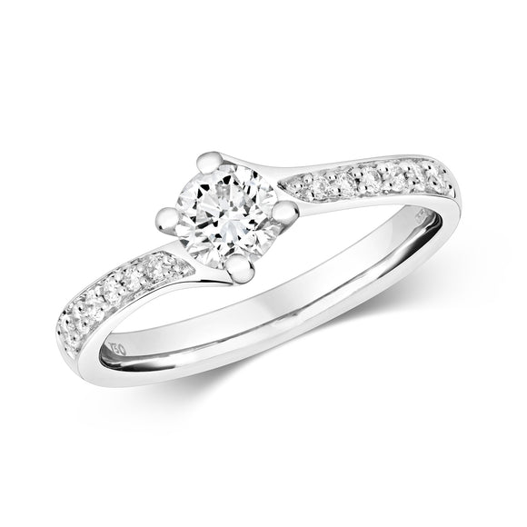 Single Stone Diamond Cross Over Ring