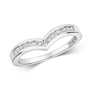18ct White Gold Diamond Channel Set Wishbone Ring