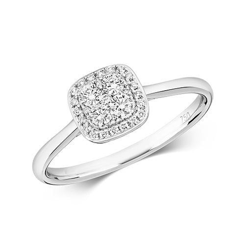 18ct White Gold Diamond Cushion Cluster Ring