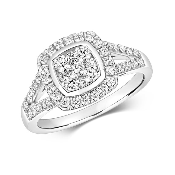 WHITE GOLD CUSHION SHAPE DIAMOND CLUSTER RING