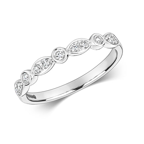 18ct White Gold Rubover Diamond Ring