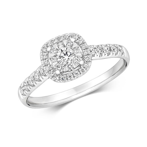 18ct White Gold Diamond Cushion Halo Ring