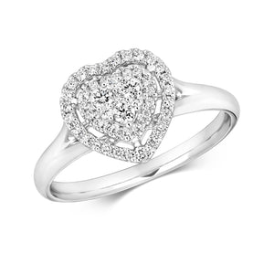 18ct White Gold Diamond Heart Halo Ring
