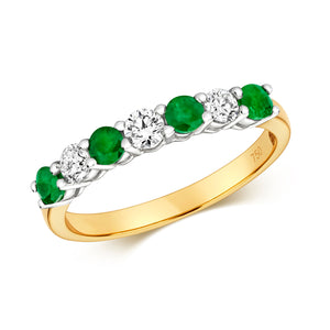 18CT YELLOW GOLD 7 STONE EMERALD & DIAMOND RING
