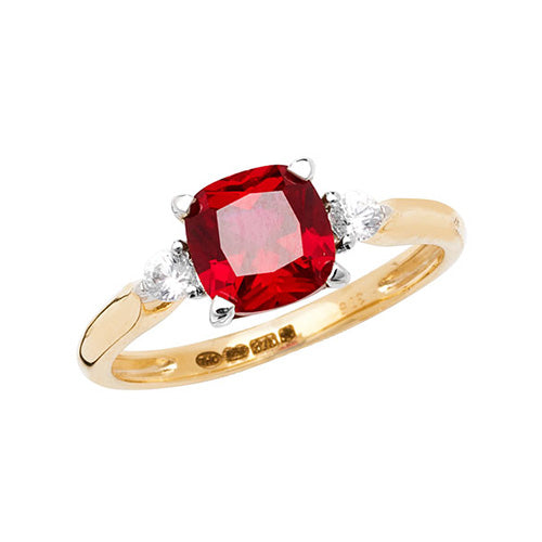 9ct Yellow Gold Cushion Created Ruby & White Sapphire Dress Ring