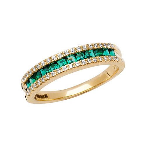 9CT YELLOW GOLD LADIES RING SQUARE CREATED EMERALD & WHITE SAPPHIRE