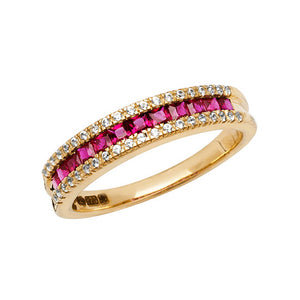9CT YELLOW GOLD LADIES RING SQUARE CREATED RUBY & WHITE SAPPHIRE