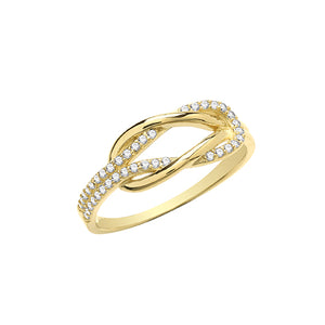 9CT YELLOW GOLD CZ INTERLOCKING RING