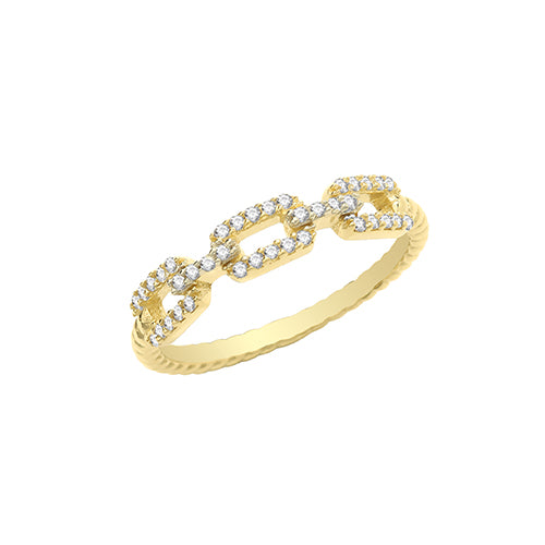 9CT YELLOW GOLD CZ LINK RING