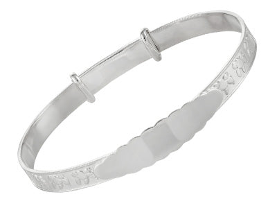 STERLING SILVER 4MM BABY EXPANDING  BANGLE WITH EMBOSSED TEDDY PATTERN