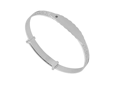 Product Ref: S016JW SILVER EMBOSSED BANGLE WITH PLATE