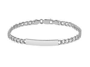 "STERLING SILVER 8"" FLAT CURB ID BRACELET WITH LOBSTER CATCH"