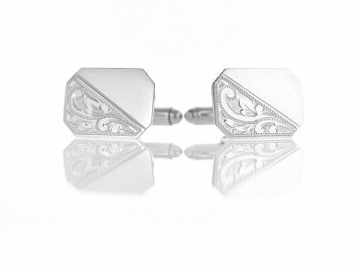 SILVER 19MM X 13.5MM TRADITIONAL CUT RECTANGULAR CUFFLINKS