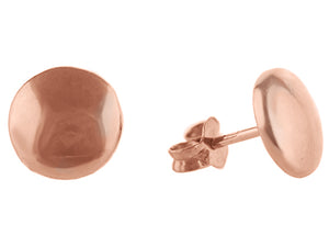 Sterling Silver Rose Gold Plated Button Stud Earrings