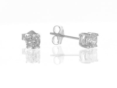 Sterling Silver 4mm Cz Stud Earrings