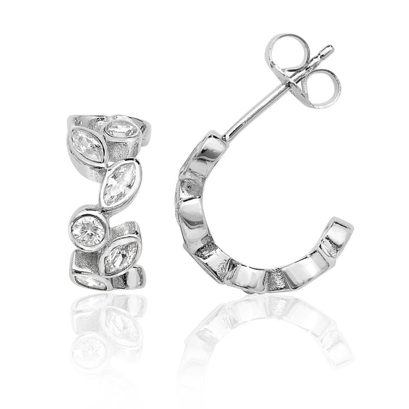 Sterling Silver CZ Hoop Stud Earrings