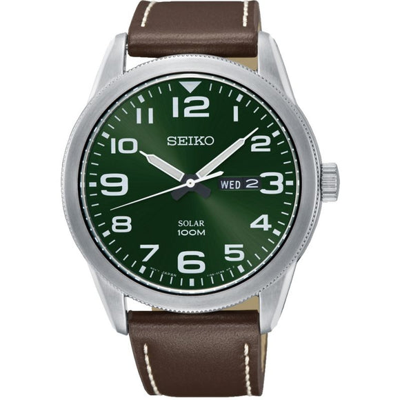 Seiko Gents Brown Leather Strap Watch Watch