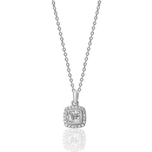 SILVER BEZEL SET CUSHION HALO STYLE CZ PENDANT+CHAIN