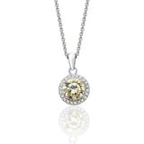 Sterling Silver Round Halo Style Coloured Pendant + Chain