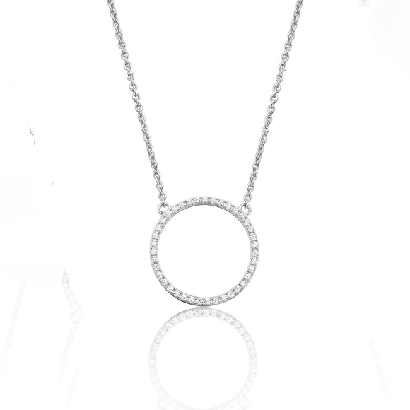 Sterling Silver Open Circle CZ Pendant + Chain