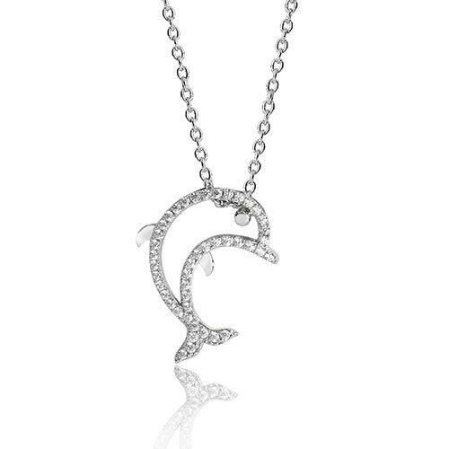 Sterling Silver CZ Dolphin Pendant + Chain