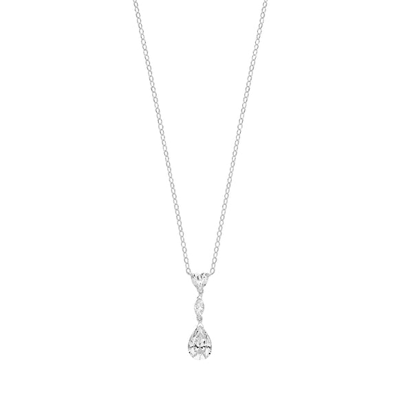 Sterling Silver CZ Drop Pendant + Chain